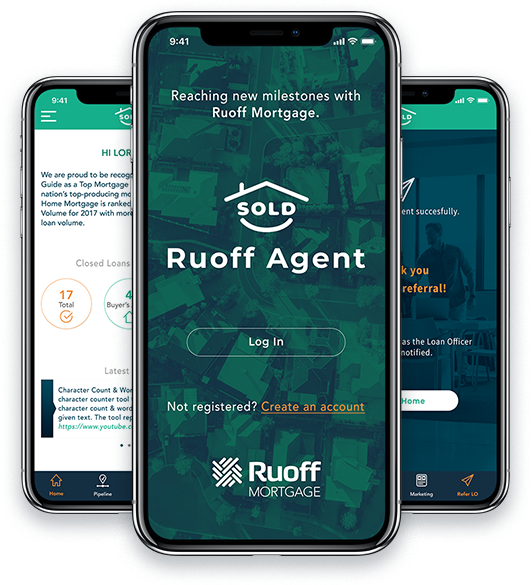 Mobile phones displaying Ruoff Agent App