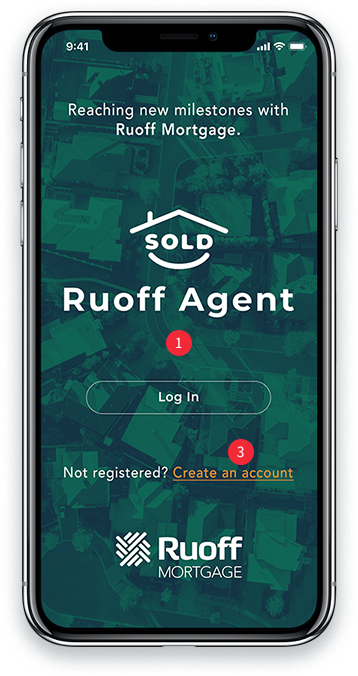 Ruoff Agent Mobile App login screen